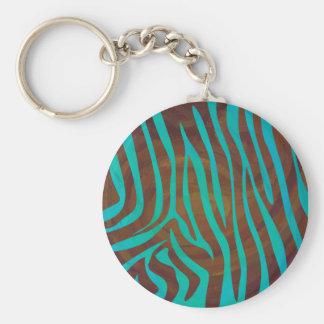 Zebra Brown and Teal Print Basic Round Button Keychain