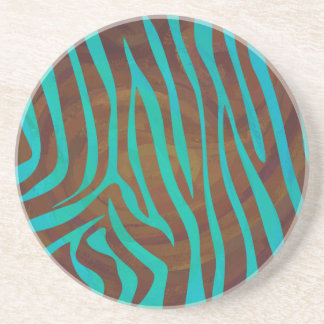 Zebra Brown and Teal Print Coaster