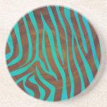 Zebra Brown and Teal Print Drink Coaster