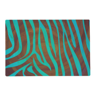 Zebra Brown and Teal Print Laminated Place Mat