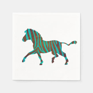 Zebra Brown and Teal Print Silhouette Standard Cocktail Napkin