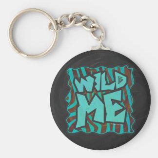 Zebra Brown and Teal Wild Me Design Basic Round Button Keychain