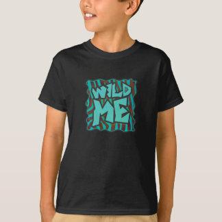 Zebra Brown and Teal Wild Me Design T-Shirt