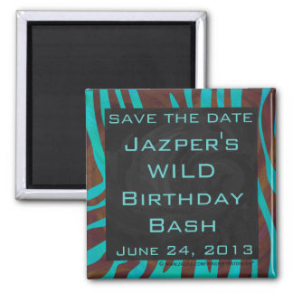 Zebra Brown and Teal with Monogram 2 Inch Square Magnet