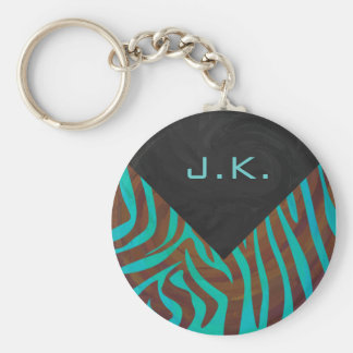 Zebra Brown and Teal with Monogram Basic Round Button Keychain