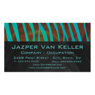 Zebra Brown and Teal with Monogram Business Card