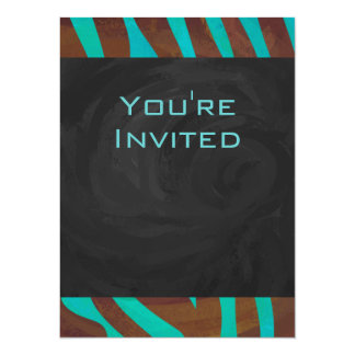 Zebra Brown and Teal with Monogram Card