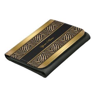 Zebra Brown Gold Animal Print Wallet Wallet