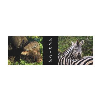 zebra buffalo jungle safari animals Africa Stretched Canvas Print