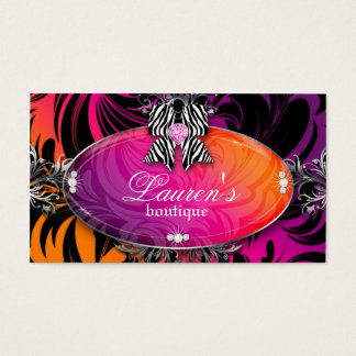 Zebra Business Card Jewelry Bow Purple Orange