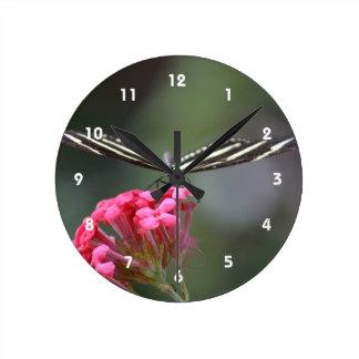 zebra butterfly head on pink flower animal wall clocks