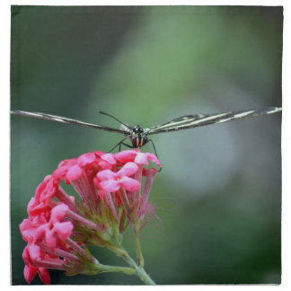 zebra butterfly thin wings pink flower printed napkins