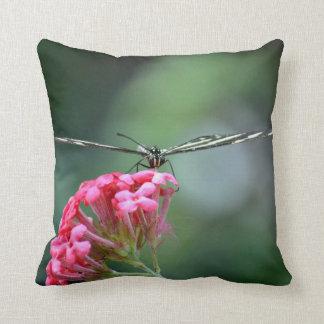 zebra butterfly thin wings pink flower throw pillow