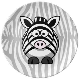 Zebra Cartoon With Stripes Dinner Plate