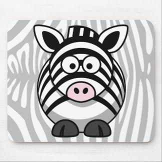 Zebra Cartoon With Stripes Mouse Pad
