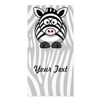Zebra Cartoon With Stripes Photo Card