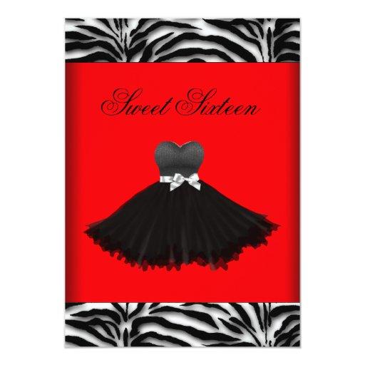 Zebra Chandelier Red Zebra Sweet Sixteen Birthday Card