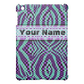 zebra check swirl, purple and teal ipad case
