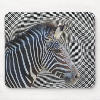 ZEBRA CHECKERBOARD HYPNOTIC MOUSE PAD