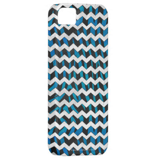 Zebra Chevron Black and Blue iPhone SE/5/5s Case