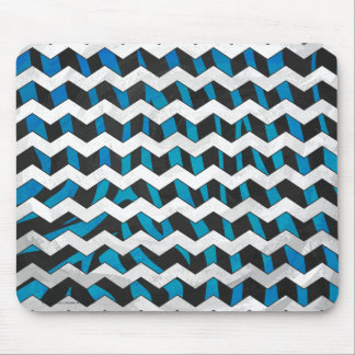 Zebra Chevron Black and Blue Mouse Pad