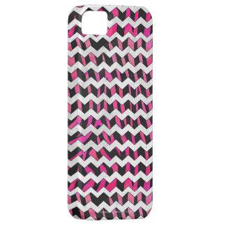 Zebra Chevron Black and Hot Pink iPhone SE/5/5s Case