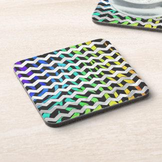 Zebra Chevron Black and Rainbow Print Coaster