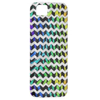 Zebra Chevron Black and Rainbow Print iPhone SE/5/5s Case