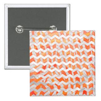 Zebra Chevron Orange and White 2 Inch Square Button