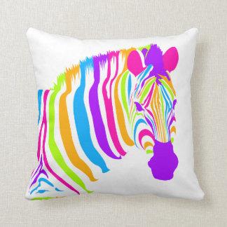 Zebra Color Burst Throw Pillow