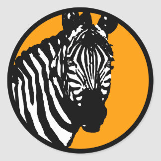 zebra. color customizable. classic round sticker
