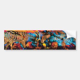 Zebra Colors art Car Bumper Sticker