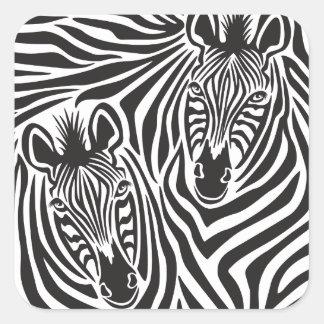 Zebra Couple Square Sticker