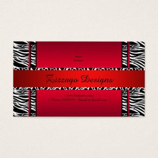 Zebra Cow Red Black White Zizzago Business Card