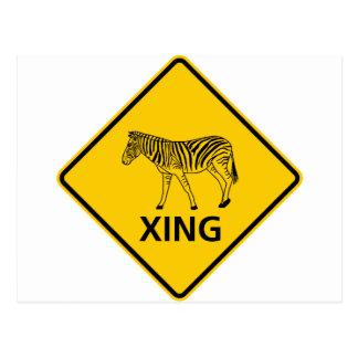 Zebra Crossing Highway Sign Postcard
