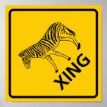 Zebra Crossing Highway Sign Poster