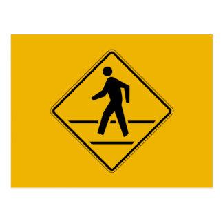 Zebra Crossing, Traffic Warning Sign, USA Postcard