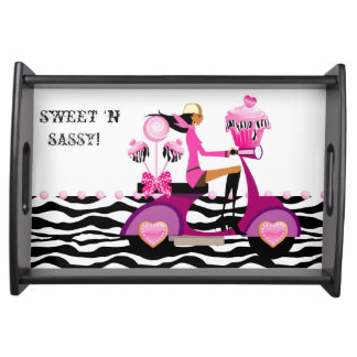 Zebra Cupcake Cake Pops Scooter Girl Sweet Sixteen Serving Platters