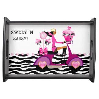 Zebra Cupcake Cake Pops Scooter Girl Sweet Sixteen Serving Tray