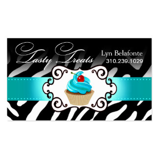 "Zebra Cupcake Frame ""Tasty Treats"" aqua Double-Sided Standard Business Cards (Pack Of 100)"