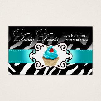 """Zebra Cupcake Frame """"Tasty Treats"""" aqua Business Card"""
