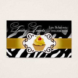 "Zebra Cupcake Frame ""Tasty Treats"" gold Business Card"