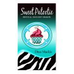 "Zebra Cupcake Logo ""Sweet Patootie"" aqua Business Card Template"