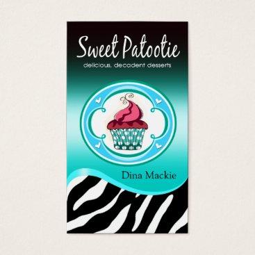 "Professional Business Zebra Cupcake Logo ""Sweet Patootie"" aqua Business Card"