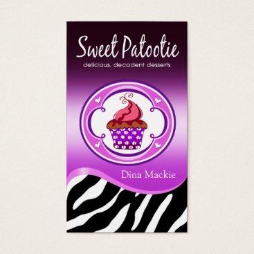 "Professional Business Zebra Cupcake Logo ""Sweet Patootie"" purple Business Card"