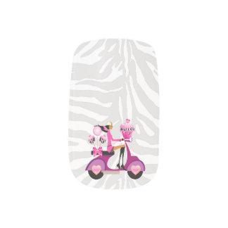 Zebra Cupcake Scooter Girl Cute Minx Nail Wraps