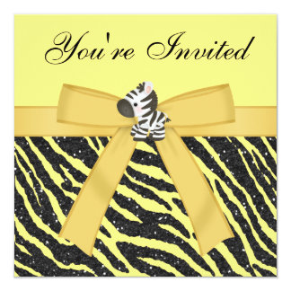 Zebra, Cupcakes & Animal Print Glitter Party Card
