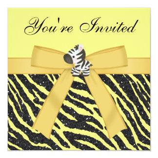 "Zebra, Cupcakes & Animal Print Glitter Party 5.25"" Square Invitation Card"