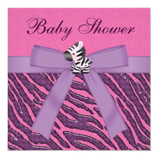 Zebra & Cupcakes Pink & Purple Baby Shower Card