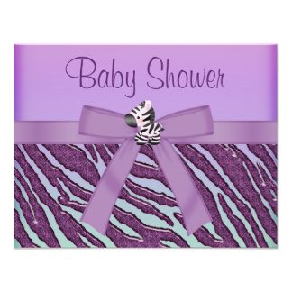 Zebra & Cupcakes Purple Baby Shower Card